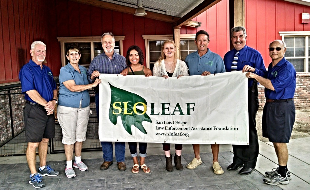 (l to r) Tom Tolbert, CJ Hunt, Jim Brabeck, 2015 Recipients-Gabrielle Fletes & Jenna Rodgers, Bill Vail, Rex Reece, and Joe Baranek.